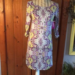 NWT Soybu Soft Knit Ladies Dress Purple Yellow (S)